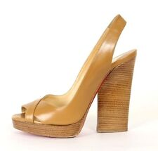 CHRISTIAN LOUBOUTIN $750 Camel Leather NEW MARPOIL 120 Sandals 35.5