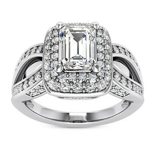 Halo Split Shank 1.66 Carat VS1/E Emerald Cut Diamond Engagement Ring White Gold