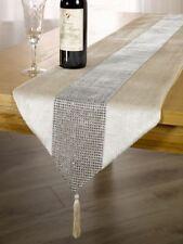 Panache Eclat Diamante Tasselled Table Runner 13x72 Inch 100 Polyester Mink