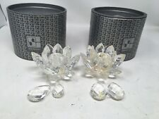 2 Vtg Swarovski Silver Crystal Teardrop Prism Taper Candle Holders With Boxes