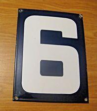 ORIGINAL PORCELAIN HOME STREET ADDRESS / GAS STATION NUMBER 6 or 9 SIGN ~  LOT E