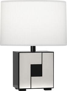 Robert Abbey BK578 One Light Table Lamp Blox Black Enamel w/ Polished Nickel