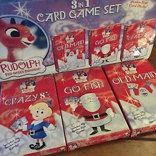 Rudolph The Red Nose Reindeer Card Game Set In Tin - Old Maid, Go Fish, Crazy 8s
