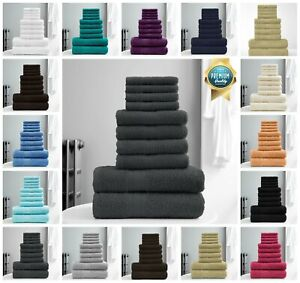 10 PCS TOWEL BALE SET 100% COMBED COTTON SOFT FACE HAND BATH BATHROOM TOWELS