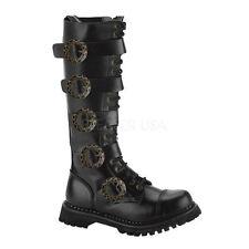 Demonia 100% Leather Block Heel Shoes for Women