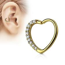 Gold IP 16 Gauge Heart  Ear Cartilage/Daith Hoop Ring with Clear Lined CZ Set