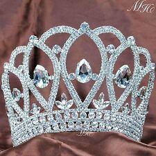 US Large Full Round Crown Crystal Rhinestone Wedding Tiaras Bridal Pageant Party