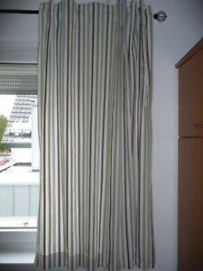 2x Ikea Stoff Gardine Vorhang gestreift grau grün beige für Stange 140x160