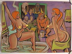 UNIVERSAL MONSTERS 'MY KINDA GIRLS' Original PASTEL DRAWING by Artist Bennett