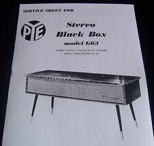PYE BLACKBOX MODEL G63 SERVICE SHEETS. - 4 no.
