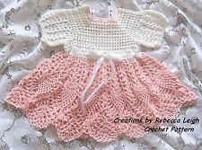 "Crochet Pattern ""Haleigh"" Baby Dress by REBECCA LEIGH - Newborn to 3 months"