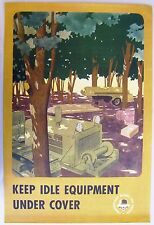 1940's WWII Military Poster: Camouflage Blinds the Enemy. Keep Idle Equipment...