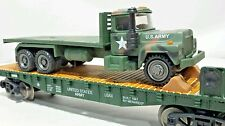 MENARDS ~ O gauge US Army flat car w diecast  Mack truck Mth Lionel compatible