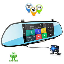 "1080P 7""3G Car Camera DVR GPS Bluetooth Dual Len Rearview Mirror Video Recorder"
