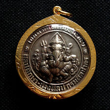 Lord Ganesha Hindu God Elephant Thai Amulet Vintage Pendant Lucky Rich Success
