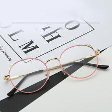 Women Men Retro Round Eyeglasses Metal Frame Plain Lens Spectacles Glasses