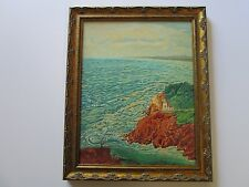ANTIQUE PAINTING EARLY CALIFORNIA ? FISHERMAN LIGHTHOUSE STUDENT OF REIFFEL ?
