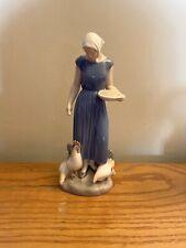 Vintage Bing & Grondahl Girl Feeding Chickens Figurine Royal Copenhagen 2220