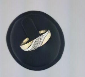 Men's Engagement Wedding Band 14k Solid Yellow Gold Diamond Round Cut