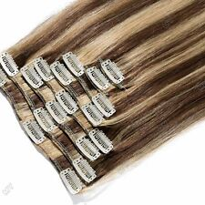 """18""""20""""22"""" Highlight Clip In Extensions Remy Real 100% Human Hair Full Head II161"""