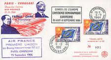 """FFC à bord """"1er Vol Air France Paris-Shanghai / MAO TSE-TOUNG & DE GAULLE"""" 1966"""
