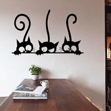 Three Cats Wall Stickers Removable Living Room Decor Art Vinyl Mural Decals DIY