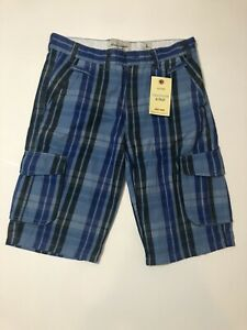 Abercrombie and Fitch 100% Cotton Mens Blue Striped Shorts Pockets Sz L