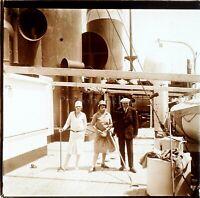 STEREO Voyage en Paquebot Bateau Mode, Photo Stereo Vintage Plaque Verre ca 1925