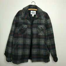 Vintage Woolrich Coat Jacket WOOL GRAY PLAID Outdoors Hunting Insulated XL USA