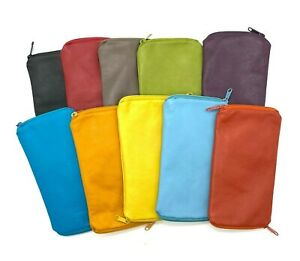Genuine Leather Double Sided Glasses Spectacle Case 12 Colours New