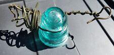WHITALL TATUM NO. 1 TEAL GLASS INSULATOR Copper Wire Still Attached