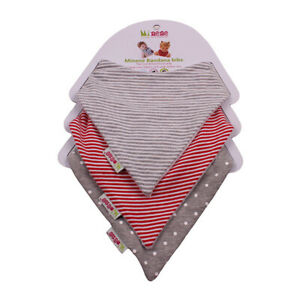 REDUCED Minene Bandana Bibs ideal for young babies - Grey and Red- neutral