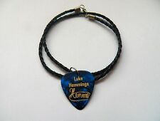 """5SOS LUKE HEMMINGS Guitar Picks signature gold stamped 20"""" leather NECKLACE"""