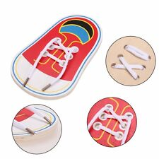 Baby Kids Wooden Shoes Lace up Tie Learning Preschool Skills Development Toy