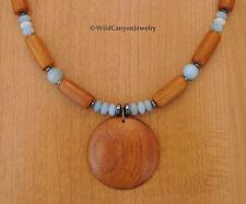 *Handmade* Bayong Wood Round Pendant Necklace with Amazonite gemstone beads