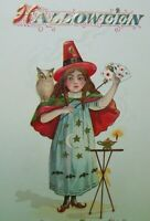 Halloween Postcard Nash Witch Owl Playing Cards Antique Original Vintage Unused