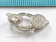 1x Rhodium plated STERLING SILVER CLEAR CRYSTAL CZ  LOBSTER CLASP 18.1mm #2873