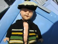 "Shirley Temple Doll Coat Hat Knit Stripes Outfit Gorgeous 1930's Compo 18""-20"""