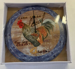 Timeless by Design Rooster Tin Clock 12 Inch Round NEW Country Farmhouse Decor