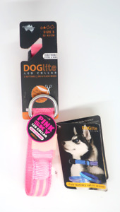 DOGlite Double Trouble LED Collar 33-43cm Size S Pink Sky