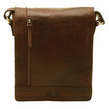 Rowallan - Brown North/South Conquest Messenger Bag in Pull Up Cowhide Leather