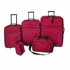 5 pcs Trolleys Travel Luggage Trolley Suitcase Set Red