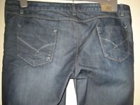 """TK12 )  WOMEN FIRETRAP BLUE STRAIGHT  JEANS  ZIP FLY WAIST 36""""  LEG 32"""""""