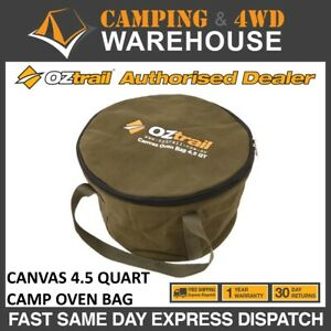 OZTRAIL CANVAS 4.5 QUART CAMP OVEN BAG CAMPING STORAGE & CARRY BAG WITH HANDLES