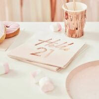 Hello 21 birthday Napkins Pink Ombre Rose Gold Blush Party Decoration Milestone