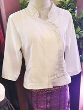 White 100 % Cotton Thai Fabric Tops Blouses Spa Uniform Chinese Collar Size L