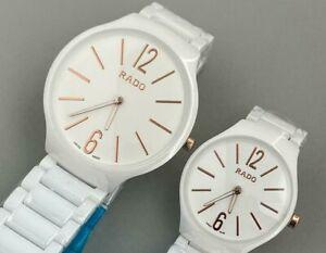 White Ceramic Rado Jubile Quartz Two Hands Mens Gents Womens Wrist Watch