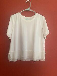 Lululemon mesh Sole Training Short Sleeve Shirt Size 10 white Preowned
