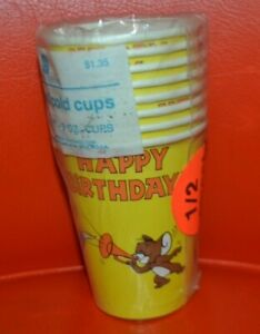 VTG 1984 American Greetings 8 Tom & Jerry Happy Birthday Cups 9oz NEW MGM RARE