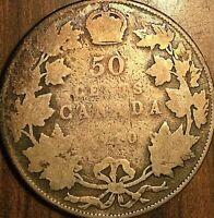 1910 CANADA SILVER 50 CENTS COIN